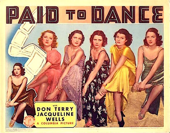 Poster from 1937 Columbia Pictures film Paid to Dance. The women in the poster are leaning towards the camera and not smiling