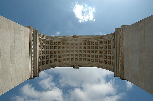 Washington Square Arch from underneath.
