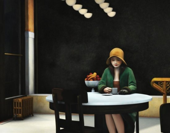 Automat, 1927 by Edward Hopper. A young girl sits alone at a cafe with a solemn look on her face.