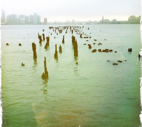 Shards of wood, remains of a pier, stick up through the water in front of the NYC skyline.