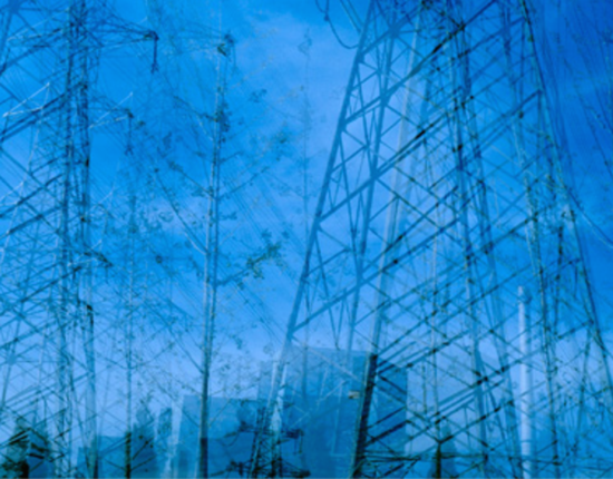 Images of transmission towers have been overlaid many times in order to create a dizzying, distorted effect