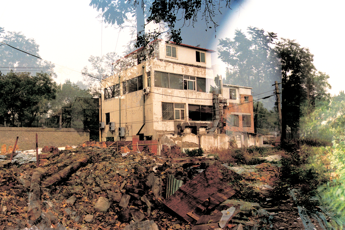 Images of trees and powerlines are translucent over an image of a giant tan house stands next to a pile of rubble.