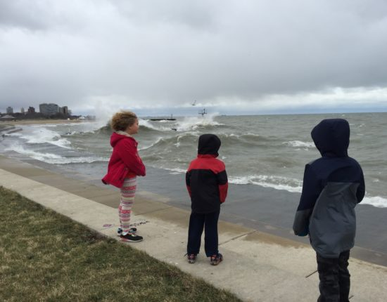 Kids stand on paved Chicago lakeshore, looking out over rough waters.