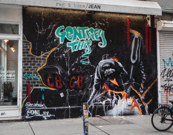 "A side of a storefront. On the left is a fancy clothing store, while the brick wall and garage door to the right is covered in colorful graffiti, with the words ""Gentrify This"" in the center of the art."