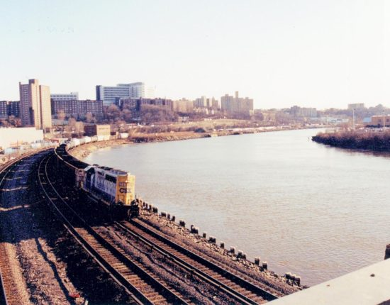 On the left there are train tracks and an abandoned freight train next to the Hudson River. Beyond the tracks and Hudson River is a city skyline of squat buildings.